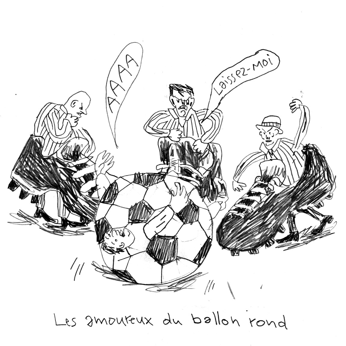 &laquo;Les amoureux du ballon rond [The soccer-lovers]&raquo;, 2015, mine de plomb  