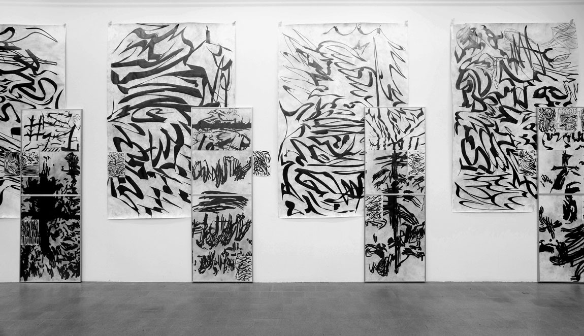 Strange Attractor 6.1 - 6.4, Pencil on Paper, Aluminium Frame, each 300 x 170 cm, 2018